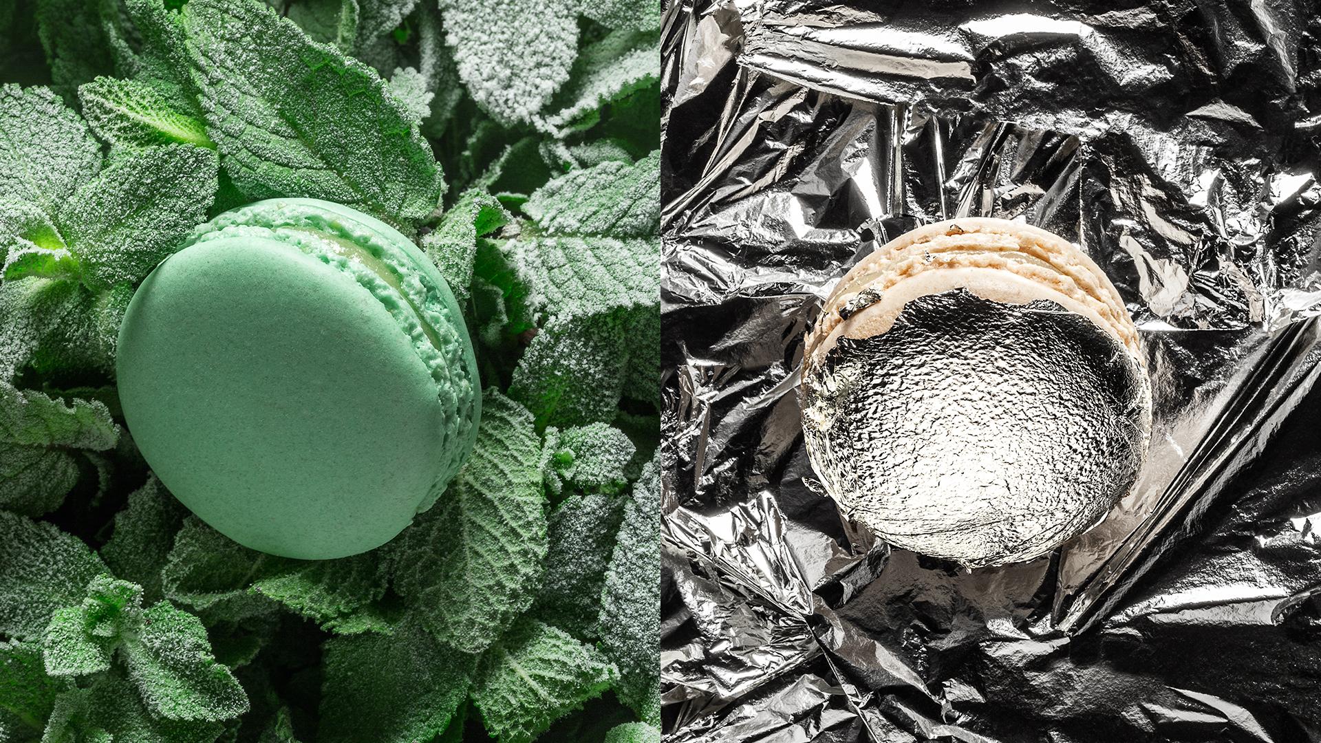 Macarons parfums menthe fraîche et vanille Ladurée
