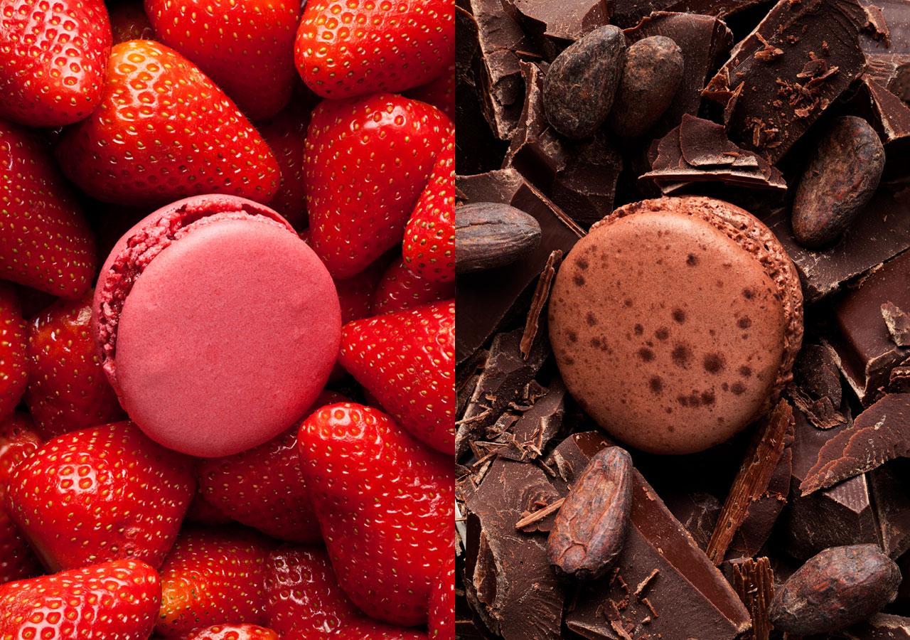 Macarons fraise et chocolat