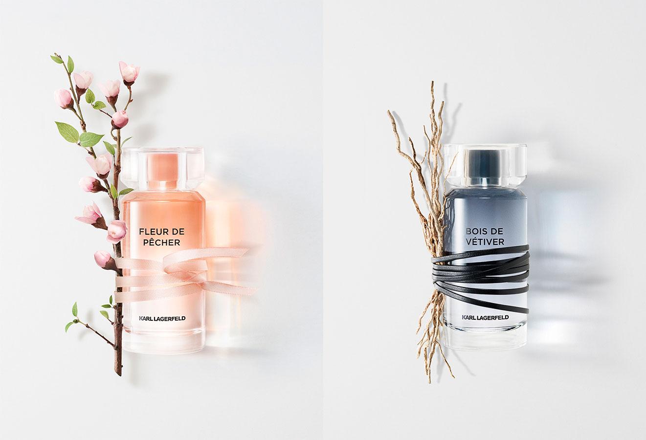 Parfums Fleur de pecher pour femme et bois de vetiver pour homme by Karl Lagerfeld